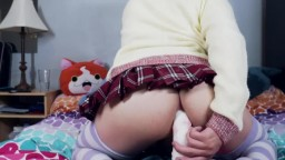 Femboy Schoolgirl Rides His Bad Dragon Horse Dildo